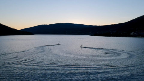 Sunset åre jetboarding on the lake åre sjön