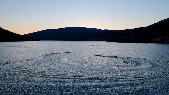 Sunset åre jetboarding on the lake åre lake